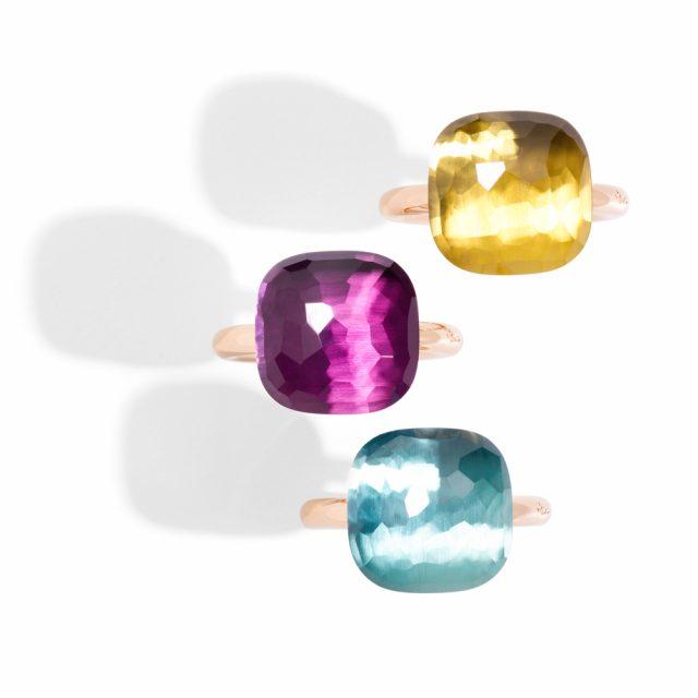 NUDO ringer i rosé gull med ametyst, blå topas og citrin