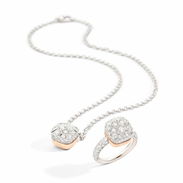 NUDO maxi ring og kjede i hvitt og roségull med hvite diamanter