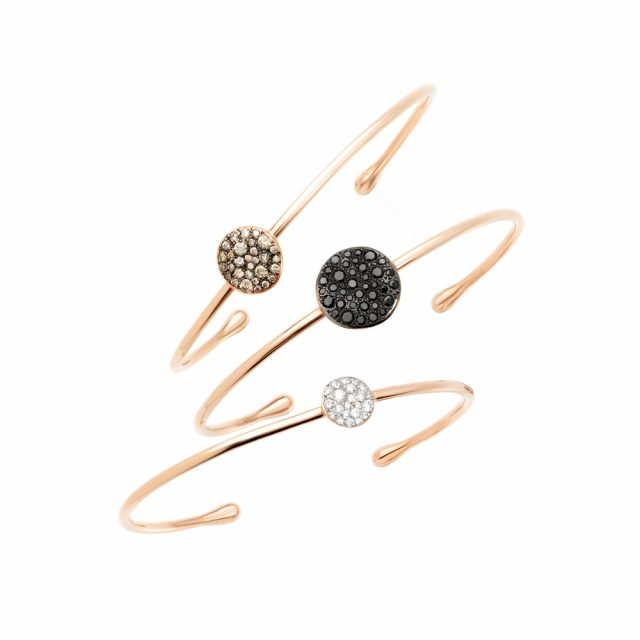 SABBIA bangles in rose gold with either black, brown or white diamonds