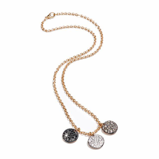 SABBIA halskjede i rosé gull med brune, sorte og hvite diamanter
