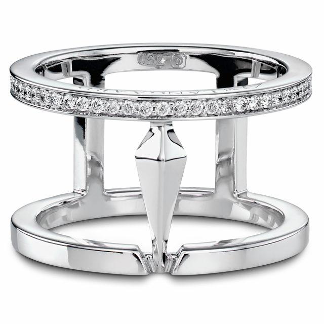 Spear dobbelring i hvitt gull med diamanter