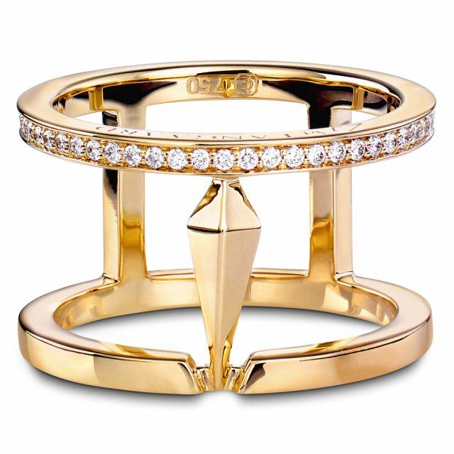 SPEAR dobbelring i gult gull med diamanter