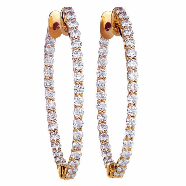Creolørepynt i roségull med diamanter