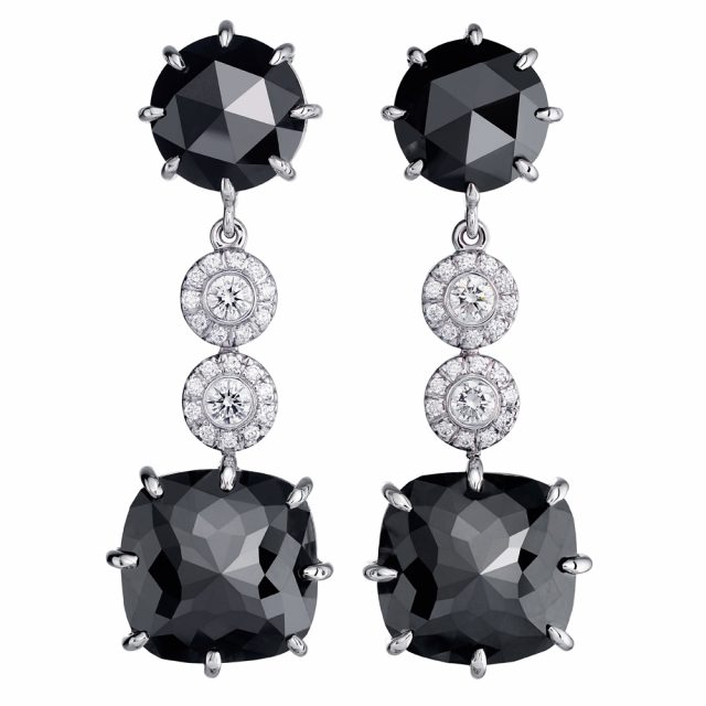Cocktail earrings in white gold with rose cut black diamonds