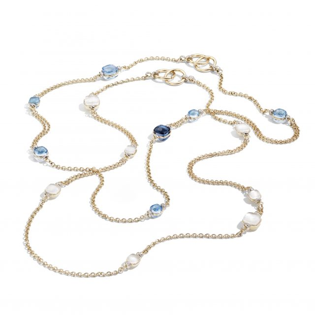 NUDO necklaces with white and blue topaz