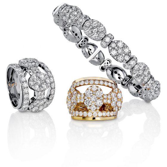 Diamantringer og armring