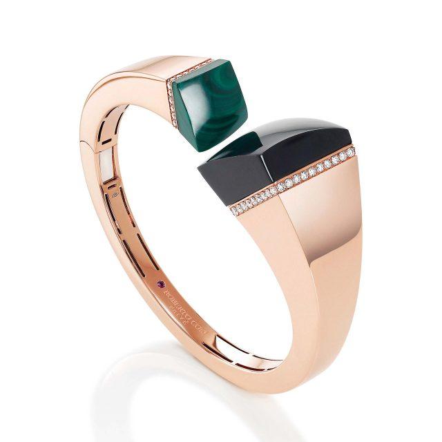 Sauvage Privé armring i roségull med sort jade, malakitt og diamanter