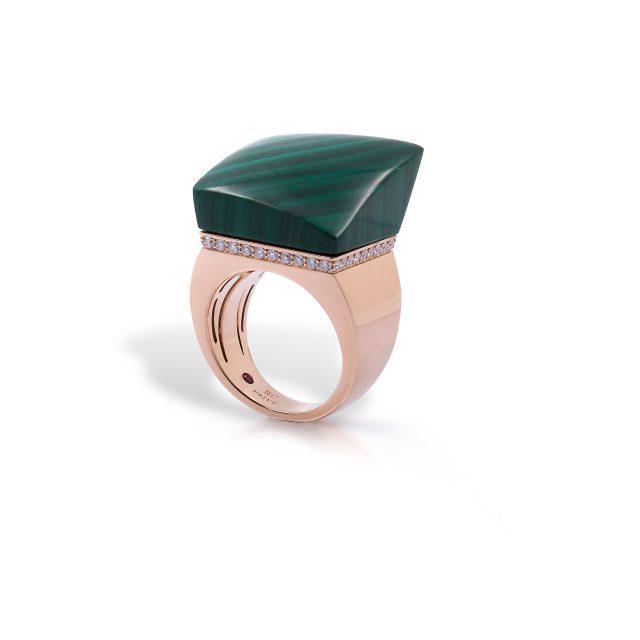 Sauvage Privé ring i roségull med malakitt og diamanter