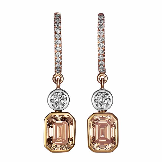 Earrings in rose gold and platinum with champagne coloured and white diamonds