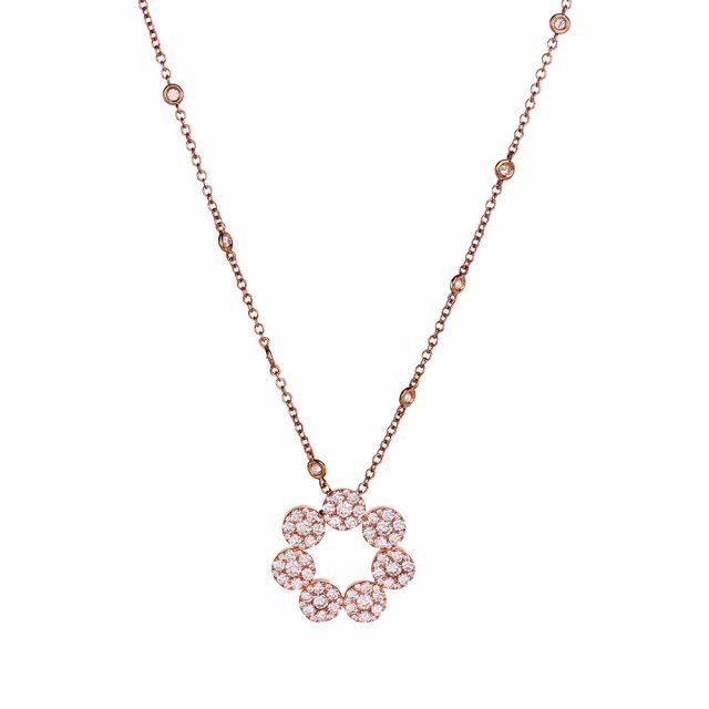 Anheng i roségull med briljantslipte diamanter