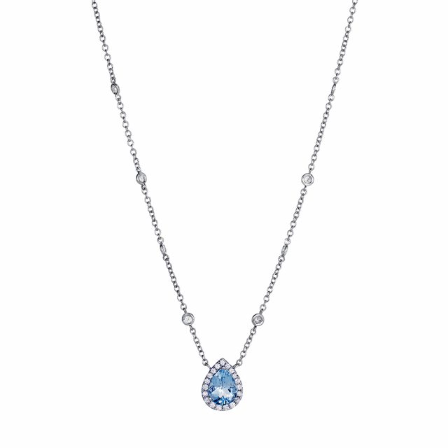 Pendant in white gold with aquamarine and diamonds