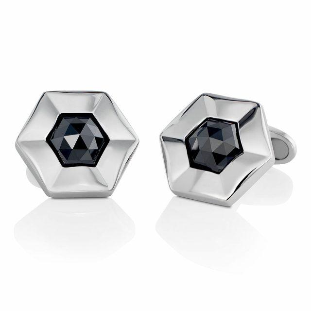 Mansjettknapper i platina med sorte diamanter tot. 6,75 ct.