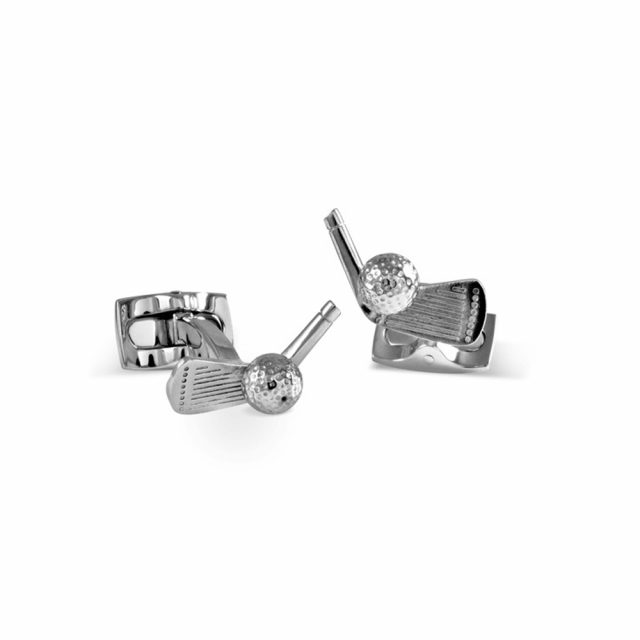 Golf club and ball cufflinks in silver