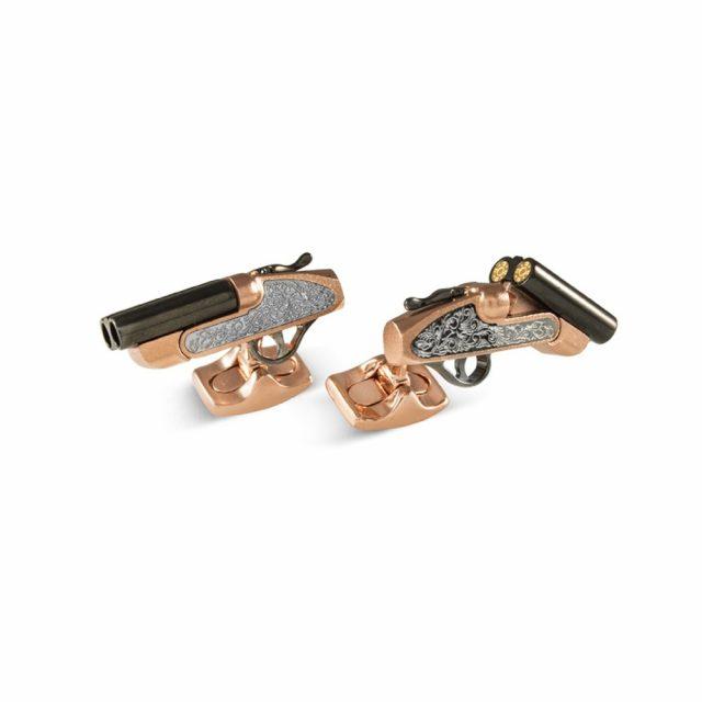 Lock and Load mansjettknapper i sølv med gull forgylling