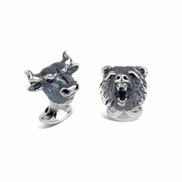 Bull and Bear mansjettknapper i sølv