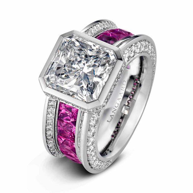 Diamantring i platina med radiantslipt diamant og rosa spineller