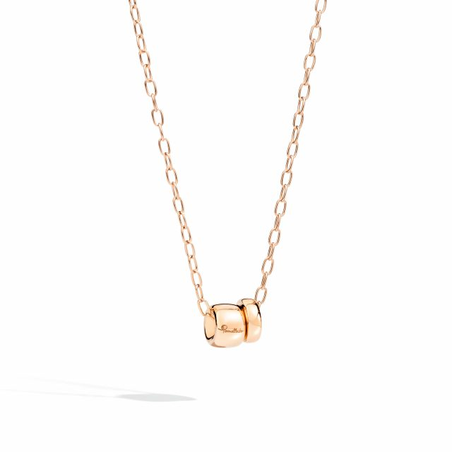 ICONICA double pendant with chain in rose gold