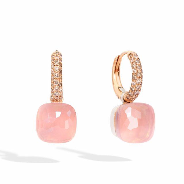 NUDO ørepynt i roségull med rosenkvarts og champagnefargede diamanter