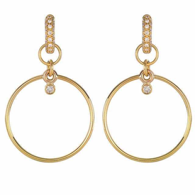Large hoops for creol earrings in yellow gold with diamond