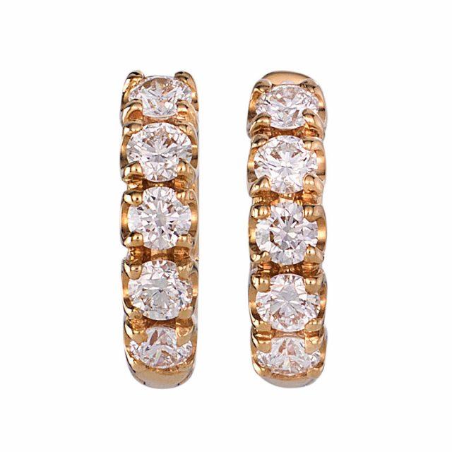 Små creoler i roségull med en rad diamanter