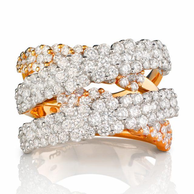 Ring i rosé og hvitt gull med diamanter
