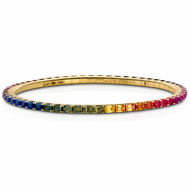 Bracelet New Tennis with rainbow colored sapphires
