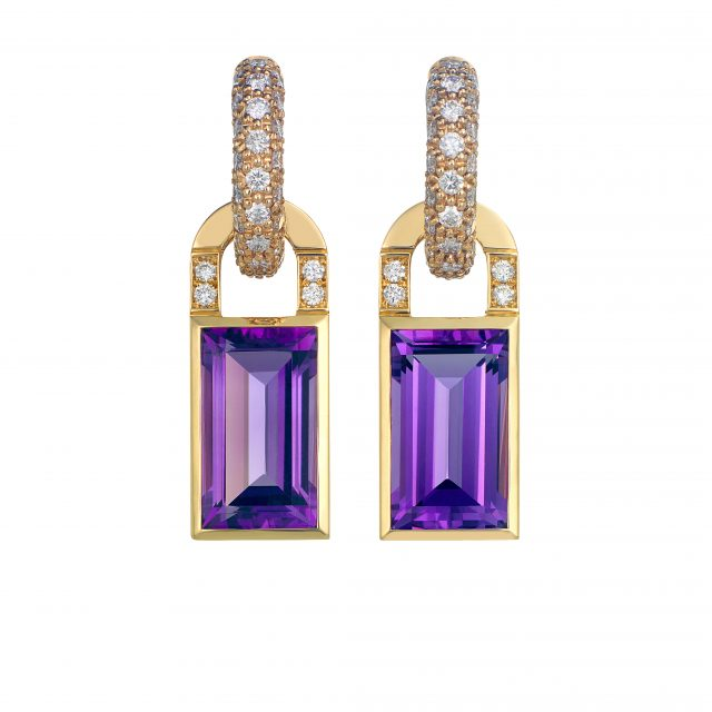 Earrings creol collection in rosegold with amethysts and diamonds