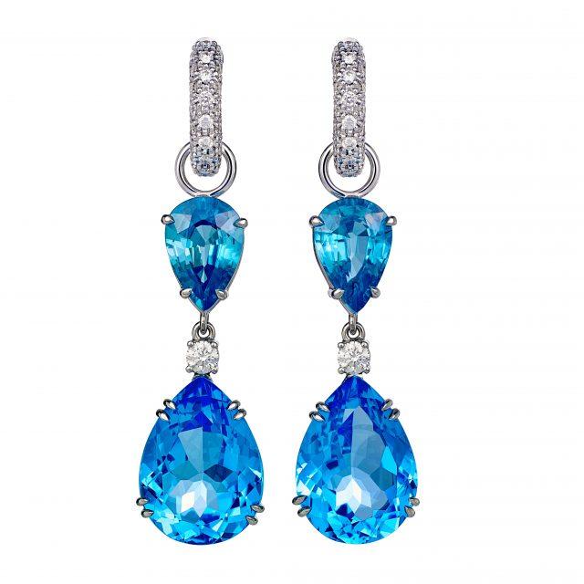 Creol ørepynt med blå zirkon, swiss blue topas og briljanter